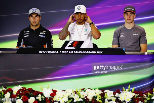 Sergio Perez of Mexico and Force India Lewis Hamilton of Great Britain and Mercedes GP and Stoffel Vandoorne of Belgium and McLaren Honda in the...