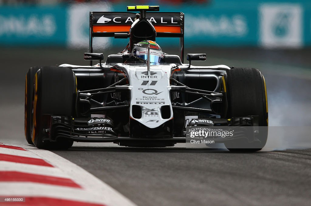 Sergio Perez of Mexico and Force India locks up during qualifying for the Formula One Grand Prix of Mexico at Autodromo Hermanos Rodriguez on October 31, 2015 in Mexico City, Mexico.