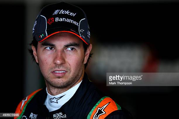 Sergio Perez of Mexico and Force India looks on in the garage during practice for the United States Formula One Grand Prix at Circuit of The Americas...