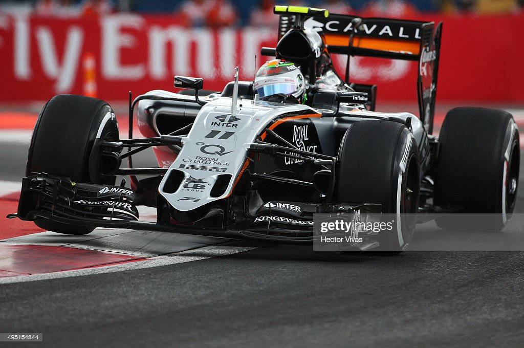 Sergio Perez of Mexico and Force India Mercedes during a qualifying session prior the Formula 1 Grand Prix of Mexico at Autodromo Hermanos Rodriguez on October 31, 2015 in Mexico City, Mexico.