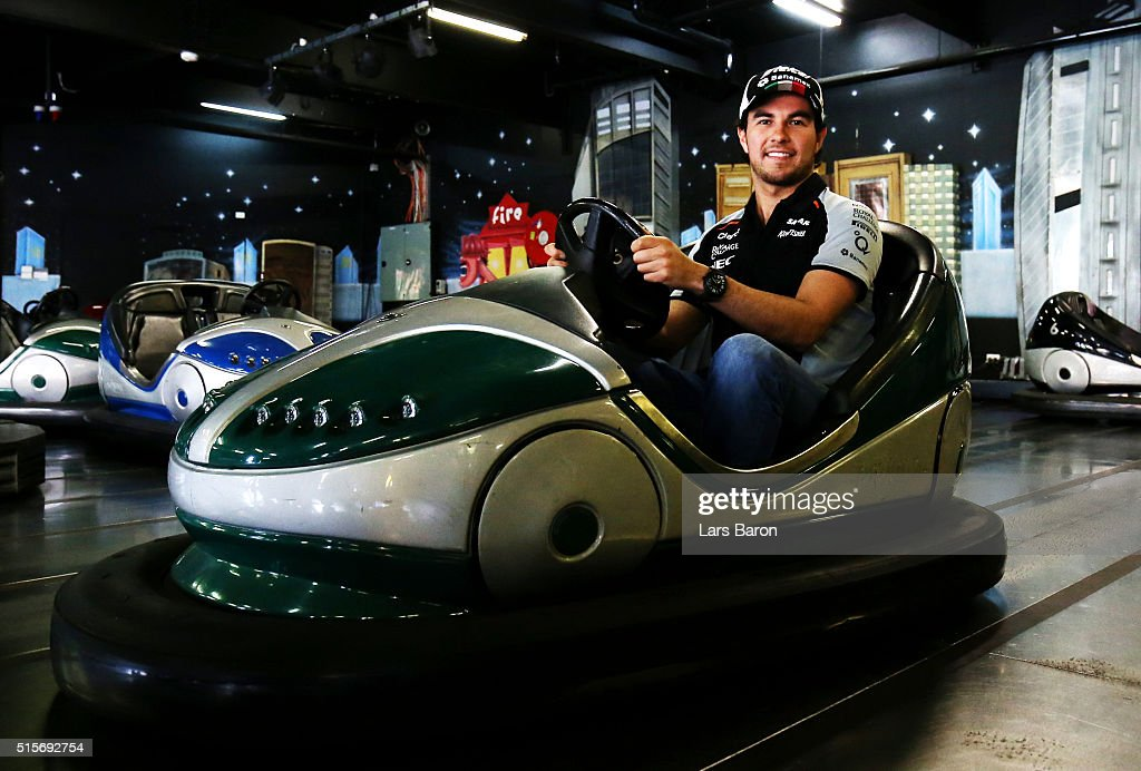 Sergio Perez of Mexico and Force India poses for a photo on the dodgems during previews to the Australian Formula One Grand Prix at Albert Park on March 15, 2016 in Melbourne, Australia.