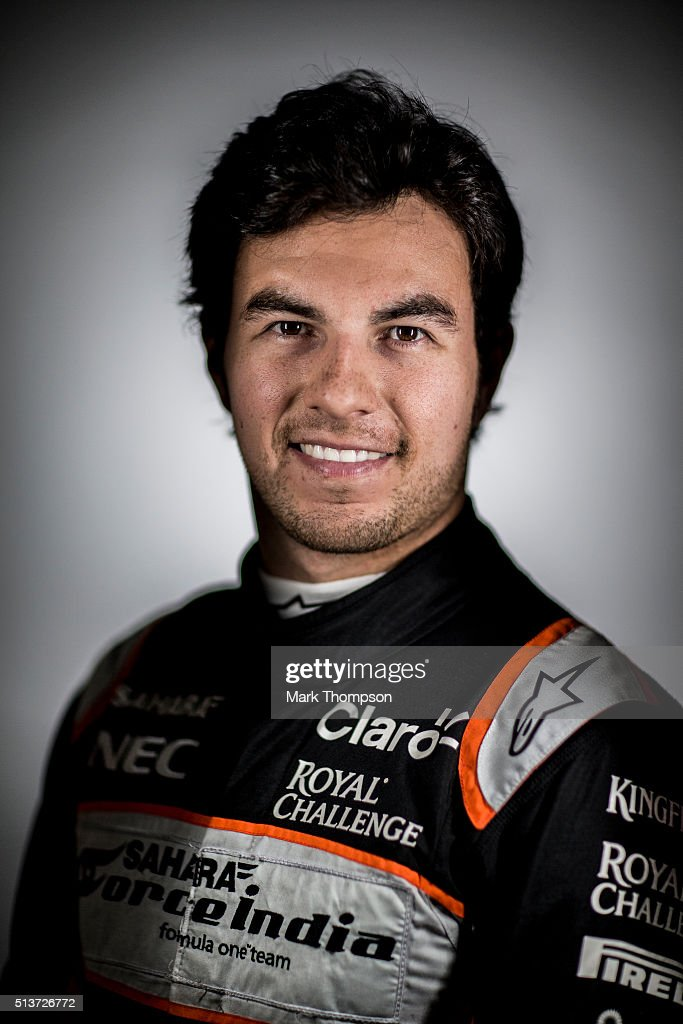 Sergio Perez of Mexico and Force India poses for a portrait during day three of F1 winter testing at Circuit de Catalunya on March 3, 2016 in Montmelo, Spain.