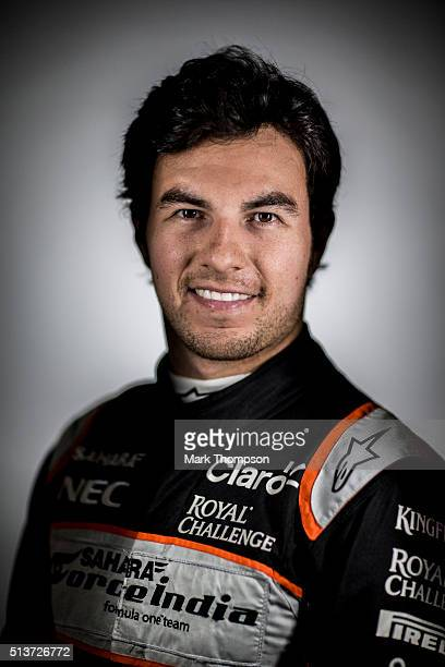 Sergio Perez of Mexico and Force India poses for a portrait during day three of F1 winter testing at Circuit de Catalunya on March 3 2016 in Montmelo...