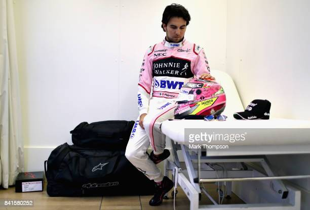 Sergio Perez of Mexico and Force India prepares to drive during previews for the Formula One Grand Prix of Italy at Autodromo di Monza on August 31...