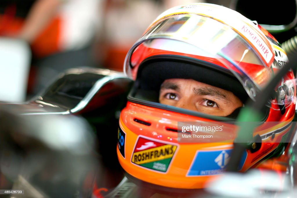 Sergio Perez of Mexico and Force India prepares to drive during practice ahead of the Chinese Formula One Grand Prix at the Shanghai International Circuit on April 18, 2014 in Shanghai, China.