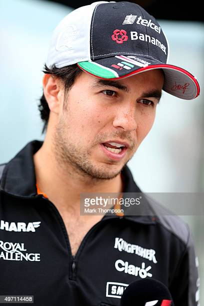 Sergio Perez of Mexico and Force India speaks with members of the media after final practice for the Formula One Grand Prix of Brazil at Autodromo...