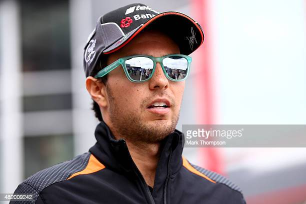 Sergio Perez of Mexico and Force India walks in the paddock before the Formula One Grand Prix of Hungary at Hungaroring on July 26 2015 in Budapest...