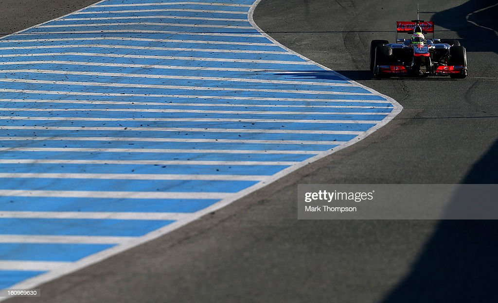 Sergio Perez of Mexico and McLaren drives during Formula One winter testing at Circuito de Jerez on February 8, 2013 in Jerez de la Frontera, Spain.