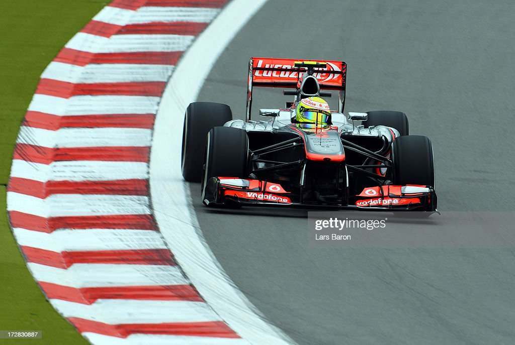 Sergio Perez of Mexico and McLaren drives during practice for the German Grand Prix at the Nuerburgring on July 5, 2013 in Nuerburg, Germany.