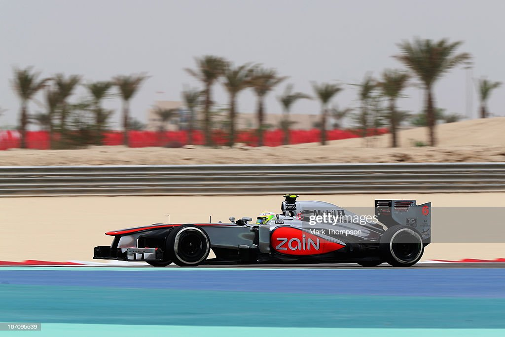 Sergio Perez of Mexico and McLaren drives during the final practice session prior to qualifying for the Bahrain Formula One Grand Prix at the Bahrain International Circuit on April 20, 2013 in Sakhir, Bahrain.