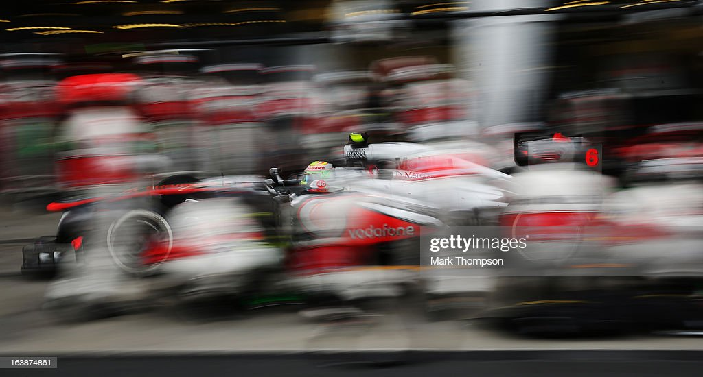 Sergio Perez of Mexico and McLaren drives in for a pitstop during the Australian Formula One Grand Prix at the Albert Park Circuit on March 17, 2013 in Melbourne, Australia.