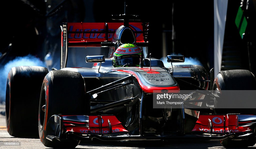 Sergio Perez of Mexico and McLaren leaves the pits during Formula One winter testing at Circuito de Jerez on February 8, 2013 in Jerez de la Frontera, Spain.