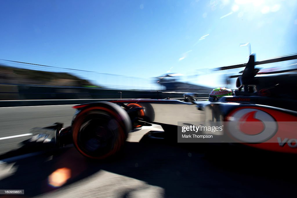Sergio Perez of Mexico and McLaren leaves the pits during Formula One winter testing at Circuito de Jerez on February 8, 2013 in Jerez de la Frontera, Spain.