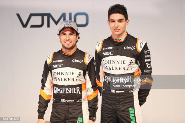 Sergio Perez of Mexico and Sahara Force India and Esteban Ocon of France and Sahara Force India pose with the VJM10 car during the Sahara Force India...