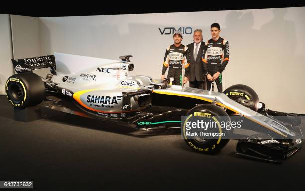 Sergio Perez of Mexico and Sahara Force India Vijay Mallya Team Principal and Managing Director and Esteban Ocon of France and Sahara Force India...