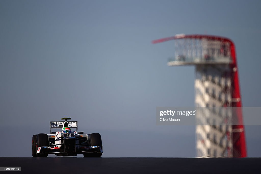 Sergio Perez of Mexico and Sauber F1 drives during practice for the United States Formula One Grand Prix at the Circuit of the Americas on November 16, 2012 in Austin, Texas.