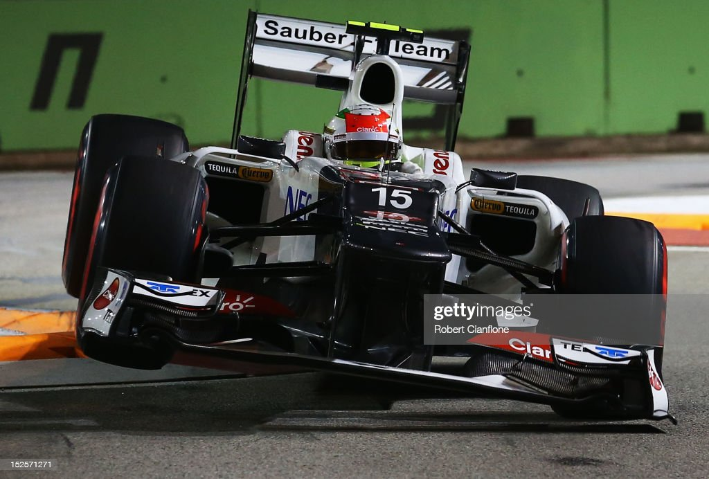 Sergio Perez of Mexico and Sauber F1 drives during qualifying for the Singapore Formula One Grand Prix at the Marina Bay Street Circuit on September 22, 2012 in Singapore, Singapore.