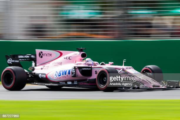 Sergio Perez of Mexico driving for Sahara Force India F1 on Friday Free Practice during the 2017 Rolex Australian Formula 1 Grand Prix at Albert Park...