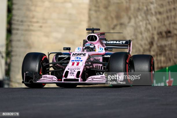 Sergio Perez of Mexico driving the Sahara Force India F1 Team on track during final practice for the Azerbaijan Formula One Grand Prix at Baku City...