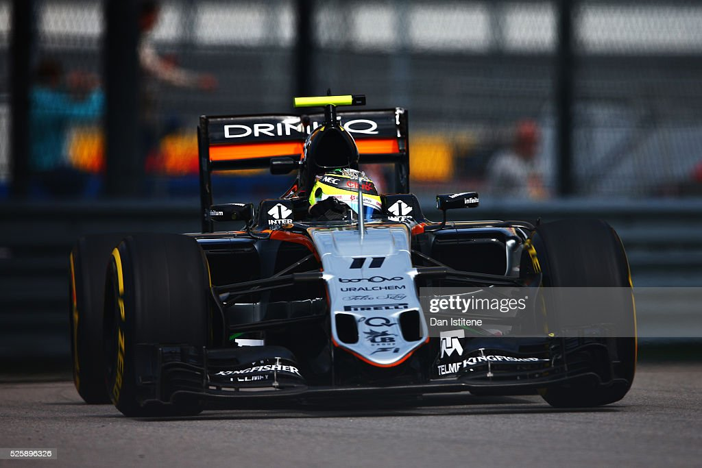 Sergio Perez of Mexico driving the (11) Sahara Force India F1 Team VJM09 Mercedes PU106C Hybrid turbo on track during practice for the Formula One Grand Prix of Russia at Sochi Autodrom on April 29, 2016 in Sochi, Russia.