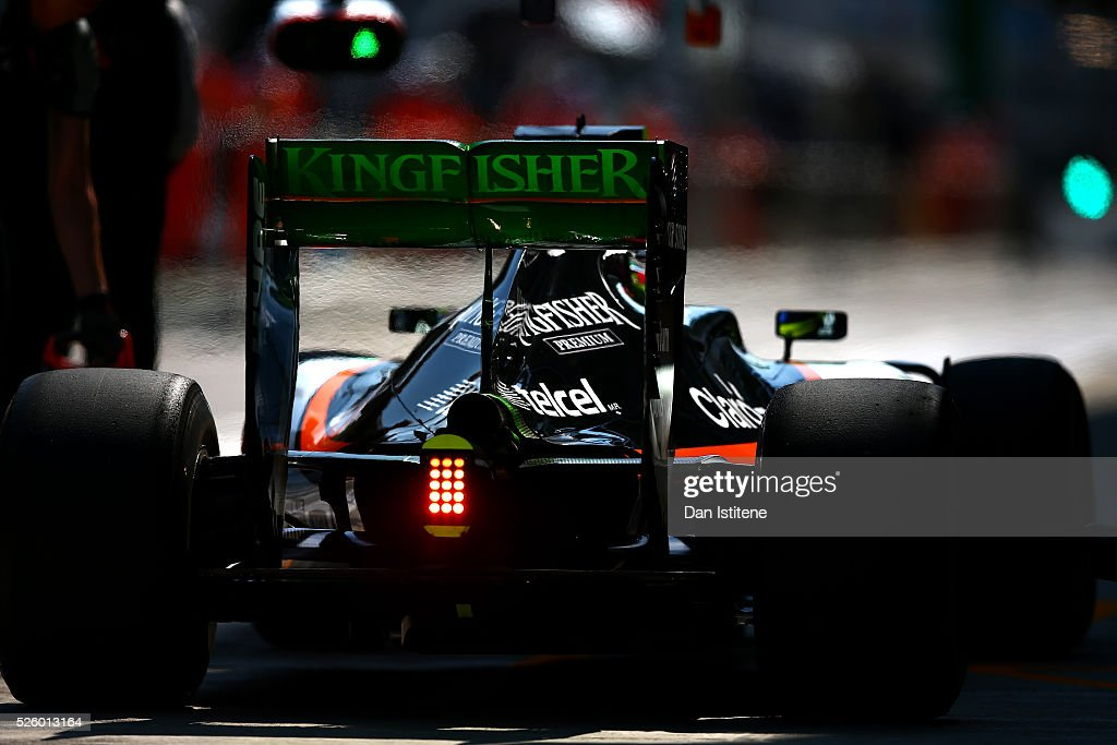 Sergio Perez of Mexico driving the (11) Sahara Force India F1 Team VJM09 Mercedes PU106C Hybrid turbo in the Pitlane during practice for the Formula One Grand Prix of Russia at Sochi Autodrom on April 29, 2016 in Sochi, Russia.