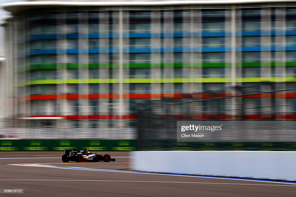 Sergio Perez of Mexico driving the (11) Sahara Force India F1 Team VJM09 Mercedes PU106C Hybrid turbo on track during final practice ahead of the Formula One Grand Prix of Russia at Sochi Autodrom on April 30, 2016 in Sochi, Russia.