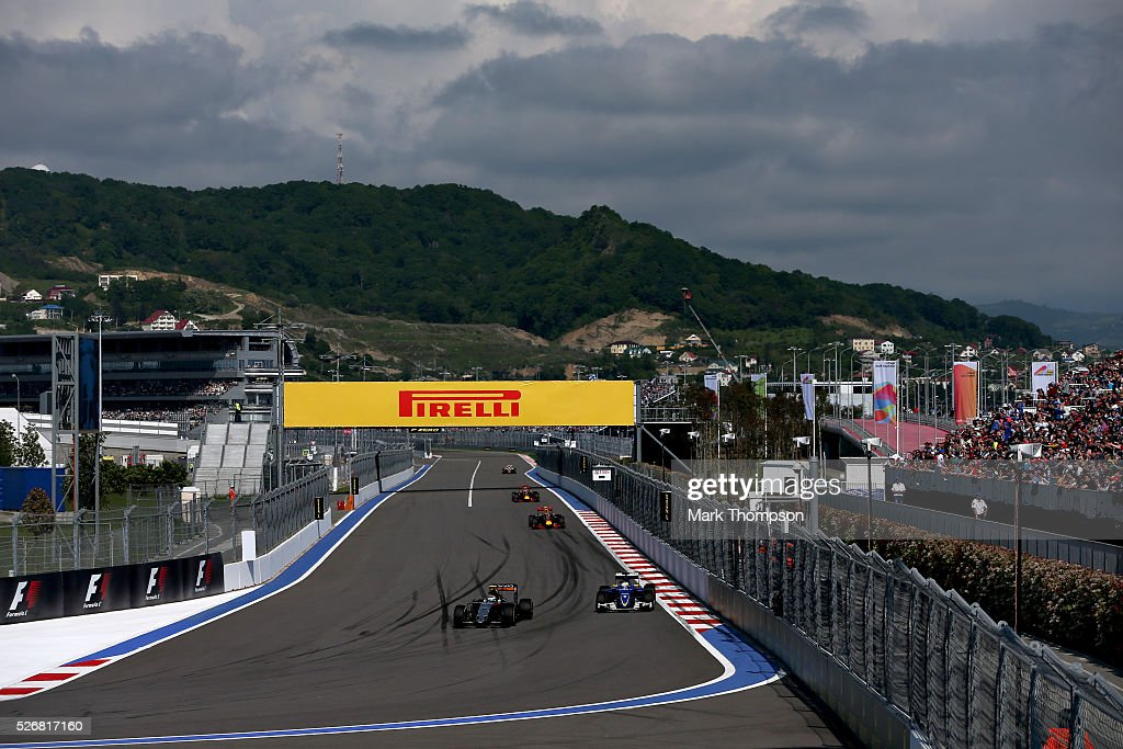 <a gi-track='captionPersonalityLinkClicked' href=/galleries/search?phrase=Sergio+Perez+-+Mexican+Racing+Driver&family=editorial&specificpeople=7629400 ng-click='$event.stopPropagation()'>Sergio Perez</a> of Mexico driving the (11) Sahara Force India F1 Team VJM09 Mercedes PU106C Hybrid turbo and <a gi-track='captionPersonalityLinkClicked' href=/galleries/search?phrase=Marcus+Ericsson&family=editorial&specificpeople=6547855 ng-click='$event.stopPropagation()'>Marcus Ericsson</a> of Sweden driving the (9) Sauber F1 Team Sauber C35 Ferrari 059/5 turbo on track during the Formula One Grand Prix of Russia at Sochi Autodrom on May 1, 2016 in Sochi, Russia.