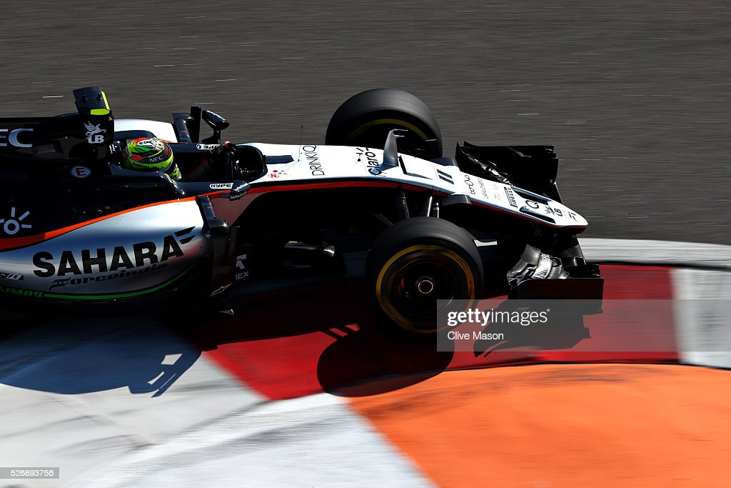 Sergio Perez of Mexico driving the (11) Sahara Force India F1 Team VJM09 Mercedes PU106C Hybrid turbo on track during the Formula One Grand Prix of Russia at Sochi Autodrom on May 1, 2016 in Sochi, Russia.