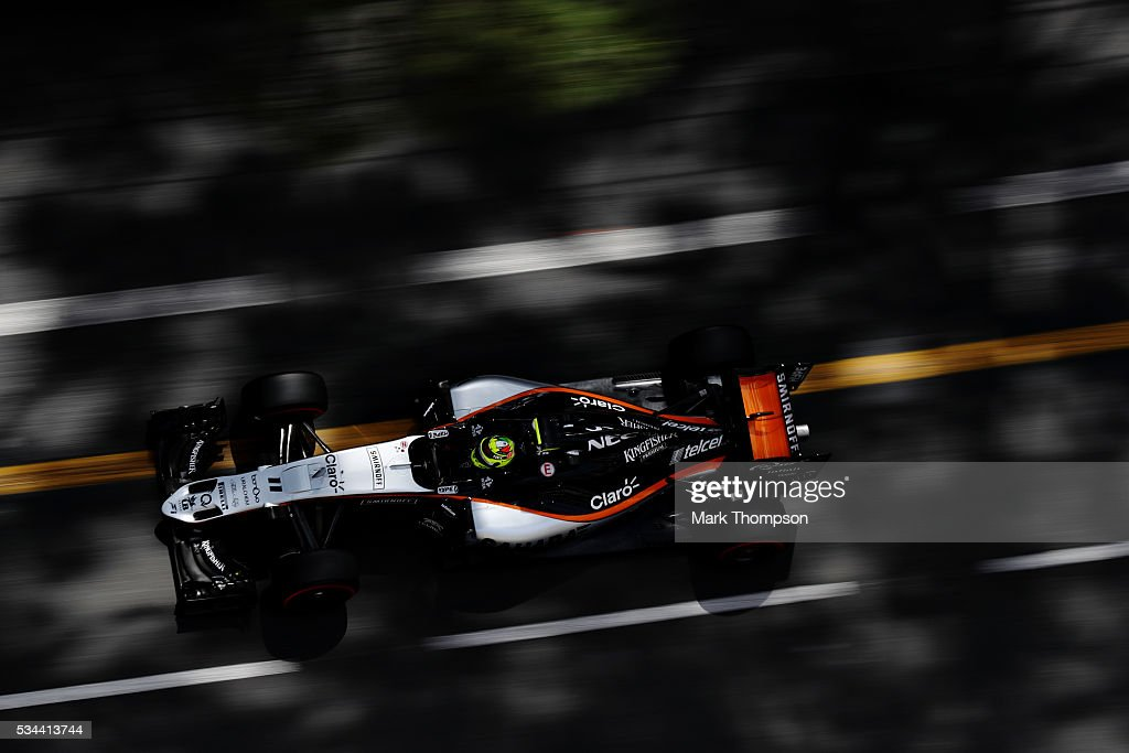 Sergio Perez of Mexico driving the (11) Sahara Force India F1 Team VJM09 Mercedes PU106C Hybrid turbo on track during practice for the Monaco Formula One Grand Prix at Circuit de Monaco on May 26, 2016 in Monte-Carlo, Monaco.