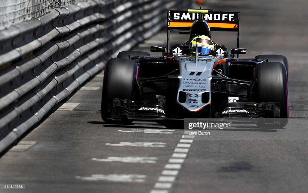 Sergio Perez of Mexico driving the (11) Sahara Force India F1 Team VJM09 Mercedes PU106C Hybrid turbo on track during qualifying for the Monaco Formula One Grand Prix at Circuit de Monaco on May 28, 2016 in Monte-Carlo, Monaco.