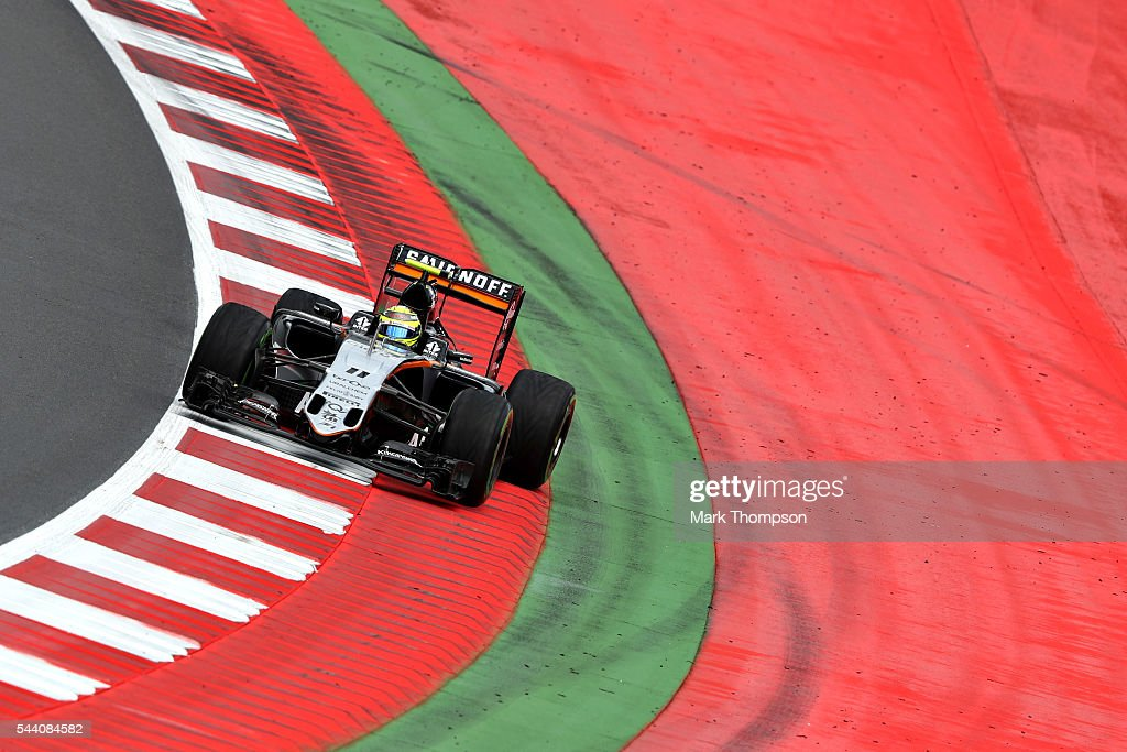 Sergio Perez of Mexico driving the (11) Sahara Force India F1 Team VJM09 Mercedes PU106C Hybrid turbo on track during practice for the Formula One Grand Prix of Austria at Red Bull Ring on July 1, 2016 in Spielberg, Austria.