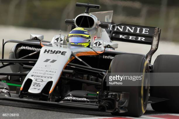 Sergio Perez of Mexico driving the Sahara Force India F1 Team VJM10 in action during the Formula One winter testing at Circuit de Catalunya on March...