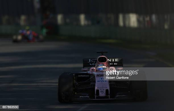 Sergio Perez of Mexico driving the Sahara Force India F1 Team VJM10 on track during the Australian Formula One Grand Prix at Albert Park on March 26...