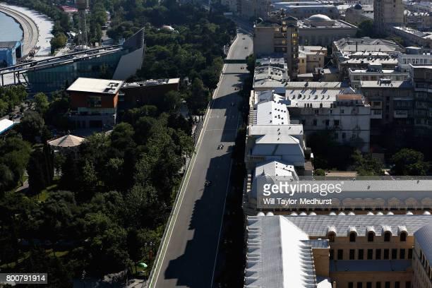 Sergio Perez of Mexico driving the Sahara Force India F1 Team VJM10 on track during the Azerbaijan Formula One Grand Prix at Baku City Circuit on...