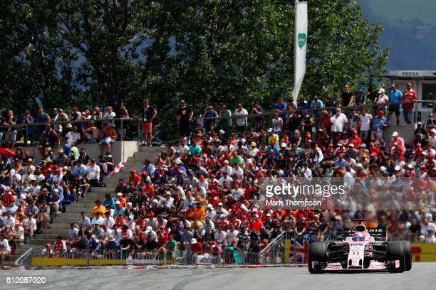 Sergio Perez of Mexico driving the Sahara Force India F1 Team VJM10 on track during the Formula One Grand Prix of Austria at Red Bull Ring on July 9...