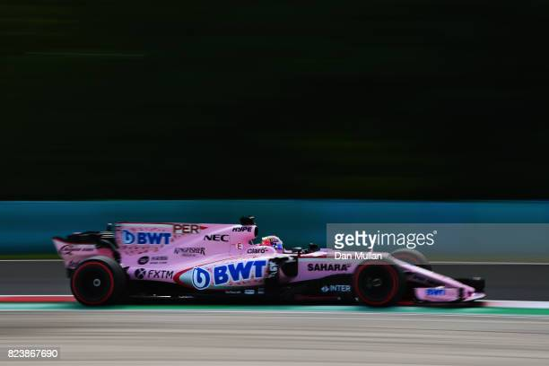 Sergio Perez of Mexico driving the Sahara Force India F1 Team VJM10 on track during practice for the Formula One Grand Prix of Hungary at Hungaroring...