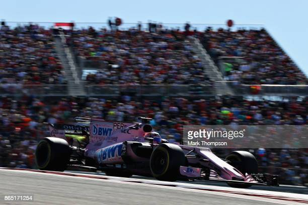 Sergio Perez of Mexico driving the Sahara Force India F1 Team VJM10 on track during the United States Formula One Grand Prix at Circuit of The...