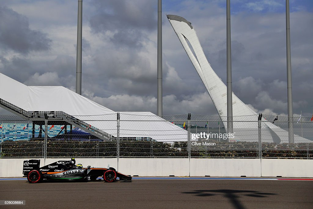Sergio Perez of Mexicoo driving the (11) Sahara Force India F1 Team VJM09 Mercedes PU106C Hybrid turbo on track during practice for the Formula One Grand Prix of Russia at Sochi Autodrom on April 29, 2016 in Sochi, Russia.