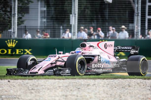 Sergio Perez of Sahara Force India F1 Team competes in the 2nd F1 practice session at the 2017 Australian Formula 1 Grand Prix on March 24 2017 in...