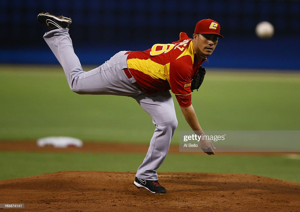 Sergio Perez #56 of Spain pitches against Puerto Rico during the first round of the World Baseball Classic at Hiram Bithorn Stadium on March 8, 2013 in San Juan, Puerto Rico.