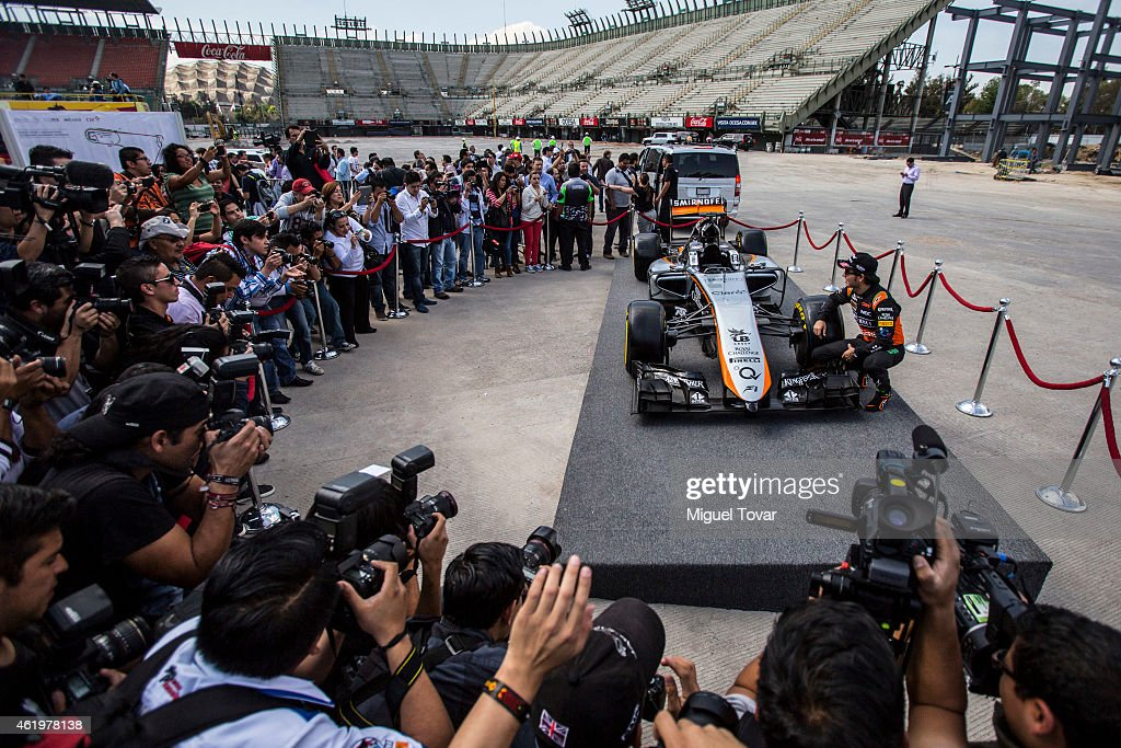 Sergio Perez poses for pictures during a walk through the Hermanos Rodriguez Racing Circuit Facilities on January 22, 2015 in Mexico City, Mexico. The Mexico's Grand Prix will take place next November 1st, the Hermanos Rodriguez circuit is under a refurbishment to receive the Formula 1 after 23 years of absence.