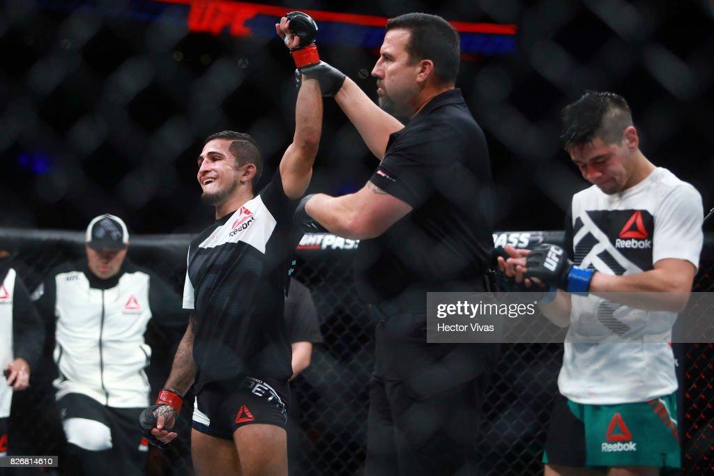 Sergio Pettis celebrates his victory against Brandon Moreno during the UFC Fight Night Mexico City at Arena Ciudad de Mexico on August 05, 2017 in Mexico City, Mexico.