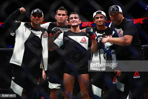 Sergio Pettis celebrates his victory against Brandon Moreno during the UFC Fight Night Mexico City at Arena Ciudad de Mexico on August 05 2017 in...
