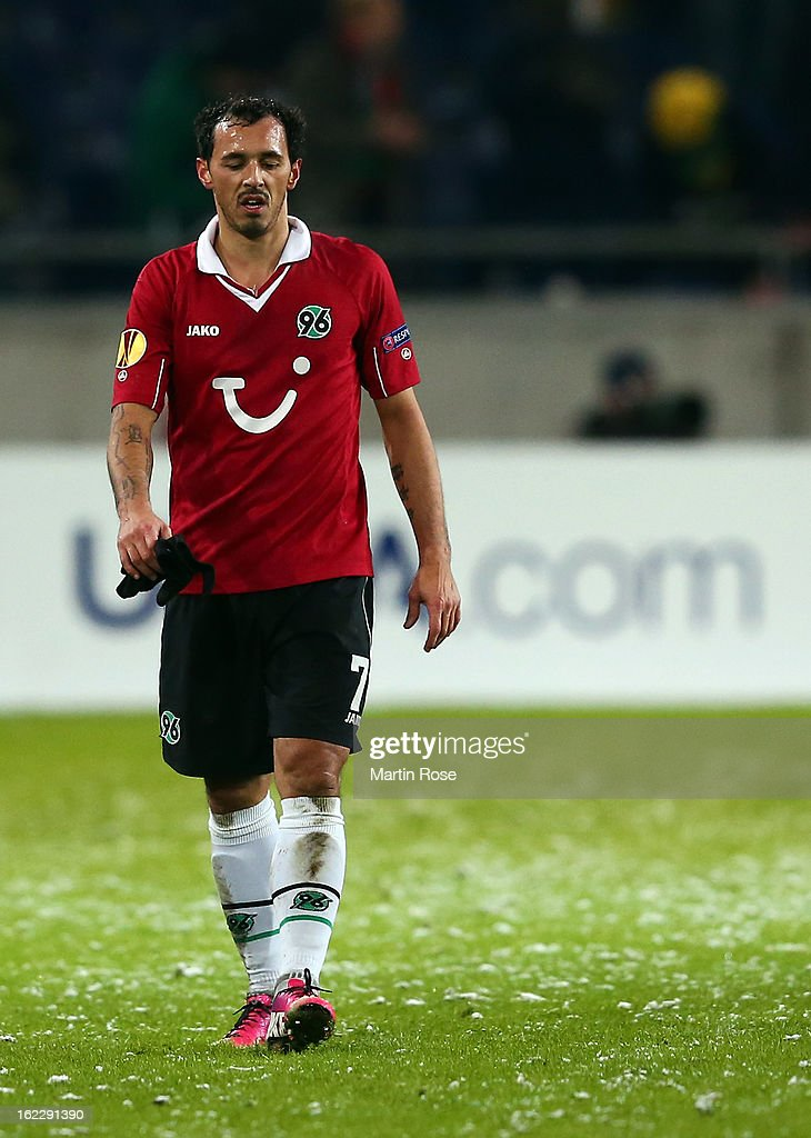 <a gi-track='captionPersonalityLinkClicked' href=/galleries/search?phrase=Sergio+Pinto&family=editorial&specificpeople=683636 ng-click='$event.stopPropagation()'>Sergio Pinto</a> of Hannover looks dejected after the UEFA Europa League Round of 32 second leg match between Hannover 96 and Anji Makhachkala at AWD Arena on February 21, 2013 in Hannover, Germany.