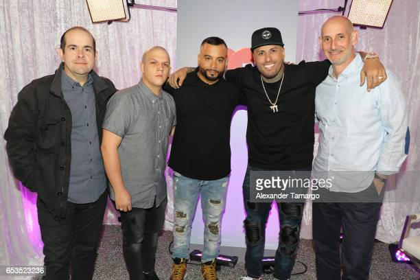 Sergio Pizzilante Juan Diego Medina Jessy Terrero Nicky Jam and Telemundo President Luis Silberwasser are seen at Telemundo Studios where Nicky Jam...