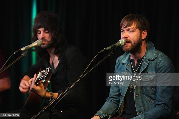 Sergio Pizzomo and Tom Meighan from the band Kasabian perform at Radio Station WRFF iHeartRadio Performance Theater March 21 2012 in Bala Cynwyd...