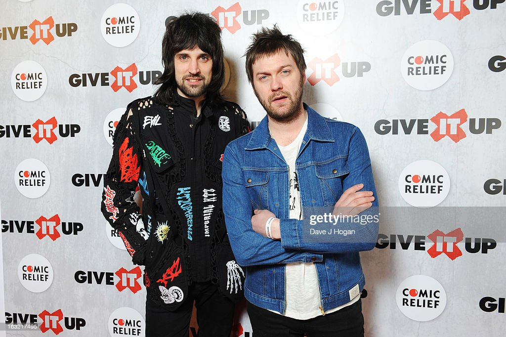 Sergio Pizzorno and <a gi-track='captionPersonalityLinkClicked' href=/galleries/search?phrase=Tom+Meighan&family=editorial&specificpeople=210642 ng-click='$event.stopPropagation()'>Tom Meighan</a> of Kasabian attend 'Give It Up For Comic Relief' at Wembley Arena on March 6, 2013 in London, England.