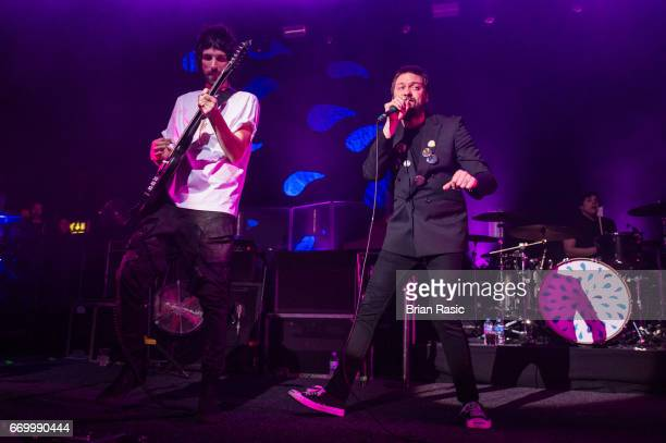 Sergio Pizzorno and Tom Meighan of Kasabian performs at The Forum on April 18 2017 in London United Kingdom