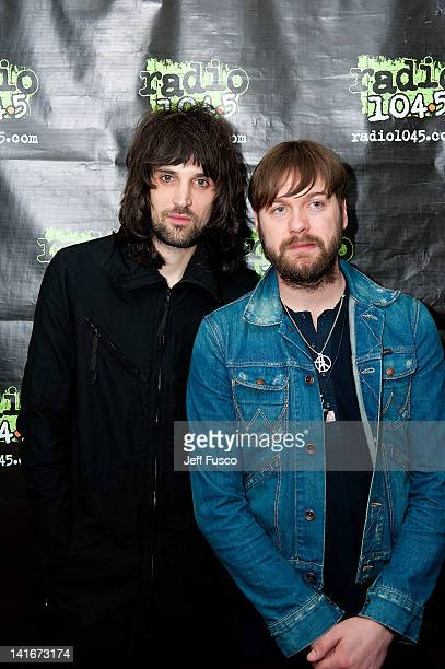 Sergio Pizzorno and Tom Meighan of Kasabian pose at the Radio 1045 iHeart Performance Theater on March 21 2012 in Bala Cynwyd Pennsylvania