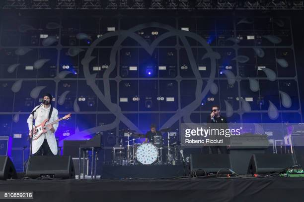 Sergio Pizzorno Ian Matthews and Tom Meighan of English rock band Kasabian perform on stage during TRNSMT Festival Day 2 at Glasgow Green on July 8...